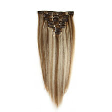 FEBAY 100% Virgin Remy Clip in Human Hair Extensions Straight Wave 70g #8-613