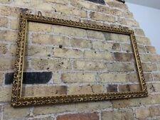 Vintage Ornate Auricular Moulded Detail Gold Gilt Picture Frame, Large
