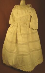 """Vintage Doll Dress for 16""""-17"""" Bisque Doll - Ivory Cotton w/Lots & Lots of Tucks"""
