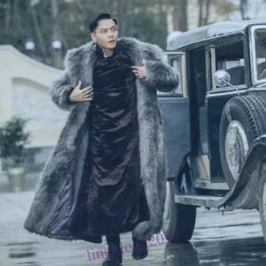 Men's Trendy Faux Fur Trench Long Coat Winter Thicken Furry Overcoat Parkas
