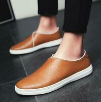 Men's Youth Soft Leather Low Top Slip On Loafers Boat Shoes Casual Sneakers