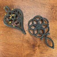 Pair of Vintage WILTON Cast Iron Trivets Country Cabin Decor