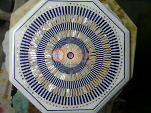 Marble White Top Handmade Coffee Side Table Top Lapis Inlaid Mosaic Arts Decor