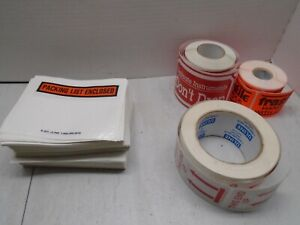 Misc ULINE stickers and packing list envelopes
