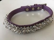 NEW Purple LEATHER CRYSTAL Dog COLLAR size SMALL Diamanté Designer from USA