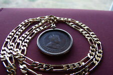 "1906 Canada King Edward VII Coin Pendant 18K  24"" Gold Filled 4MM Figaro Chain"