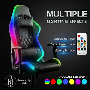 RGB Gaming Chair Office Home Genuine Leather Chair Adjustable Foot Rest