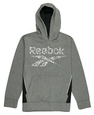REEBOK Geometric Logo Sport Pullover Hoodie Medium Heather Gray Black DEFECT
