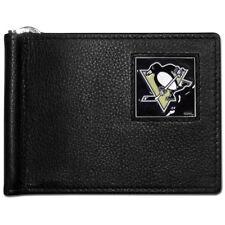 pittsburgh penguins logo nhl hockey emblem leather bill clip wallet usa made