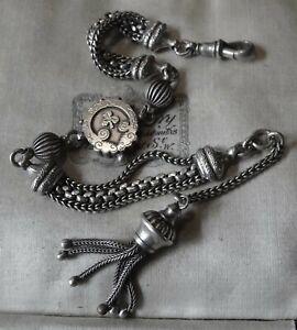 antique Victorian SILVER albertina tassel fob charm fancy chain bracelet -X214