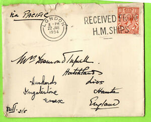 maritime cover with RECEIVED FROM HM SHIPS postmark Via Pacific Liss 1934