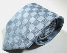 Louis Vuitton LV Damier Checks Light Blue Color Silk Necktie Tie Made In Italy