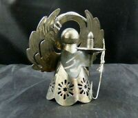 Vintage Angel Cherub Christmas Ornament Silver Tone Metal Holding Candle Wings