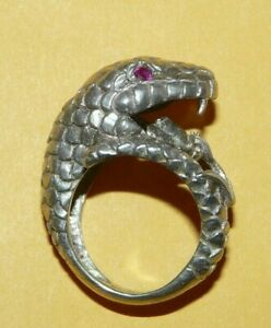 "~VINTAGE~""925""~STERLING~SILVER~""SNAKE HEAD""~w/~RUBY~EYE'S~DESIGN~RING~SIZE~7.5~"