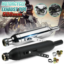 20.5'' Motorcycle Torpedo Exhaust Pipe Muffler W/ Reducer For Harley Cafe Racer
