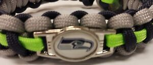 NFL Seattle Seahawks Paracord Bracelet with Charm  (Cobra Weave)