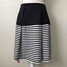 Kate Spade Black Cream Cape Stripe Pleated Skirt Size 4 Retail