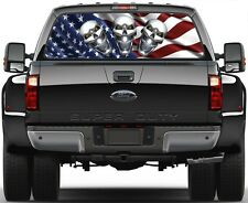 USA American Flag & Chrome Skulls Rear Window Graphic Decal for Truck SUV Vans