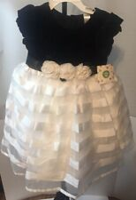 New Little Me White Black Girl's Dress with bow And Roses Size 4T Christmas Gift