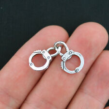 4 Handcuffs Charms Antique Silver Tone Great Quality - SC3746