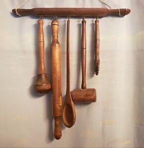 Vintage Wooden Utensil Organizer Hanging Rack w/ 5 Large Utensils plus Mount