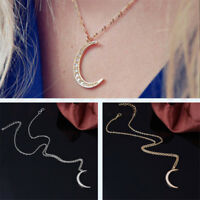 Crescent Half Moon Celestial Charm Pendants Necklace Chain Jewelry Gold/Silver