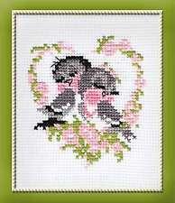 Stickpackung Stickbild sticken 13x16 cm Vogel Vögel Liebe Romantik Kreuzstich