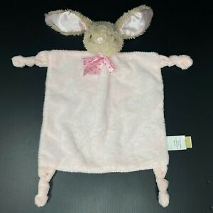 Dan Dee Tan Bunny Rabbit Baby Lovey Pink Security Blanket Rattle Dot Bow Knots