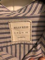 Billy Reid Mens Casual Button Down Shirt Blue White Stripe Size L