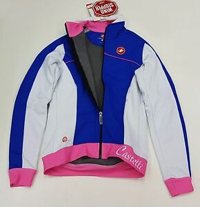Castelli Winter Women's Viziata Windstopper Cycling Jacket White Blue Pink L