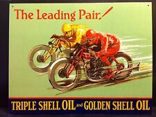 Shell Leading Pair TIN SIGN Vtg Racing Motorcycle Metal Garage Wall Decor