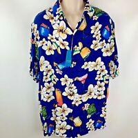 Caribbean Mens Shirt Tall Man XLT Beach Hawaiian Camp Blue White New with Tag