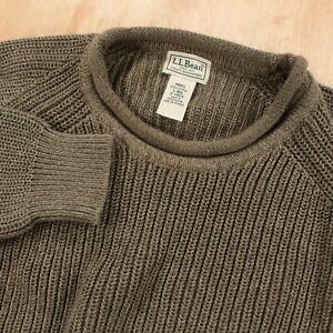 LL BEAN men's roll neck cotton crewneck sweater LARGE green fisherman sailor vtg