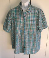 Merrell Men's Short Sleeve Blue Plaid 100% Cotton Button Front Shirt Sz XXL EUC