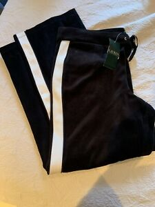 NWT Ralph Lauren Womens XL Pants Black Velour White Stripe Straight Leg Lounge