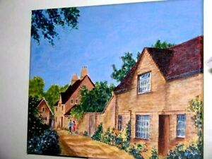 Street Scene From England Cottages & Garden Original Painting Block Mounted