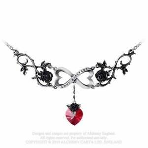Alchemy Gothic Infinite Love Pewter Black Rose Pendant Necklace - Gothic,Goth