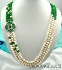 """3strands 30""""-33"""" 9mm white pearl 8mm Green jade necklace"""