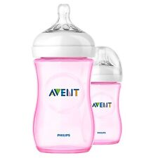 PHILIPS AVENT BABY NATURAL 260ml/9oz BOTTLE X2 PINK