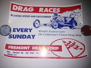 "FREMONT DRAG STRIP VINTAGE DRAG RACING GARAGE RACE POSTER 16"" X 21 3/4"" 1960's"
