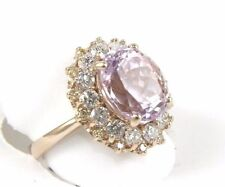 Oval Cut Pink Kunzite Gemstone & Diamond Solitaire Ring 14k Rose Gold 7.44Ct