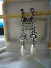 Stunning CIRO Vintage Deco Silver Earth Mined Zircons Pearl 5cm Dangle Earrings