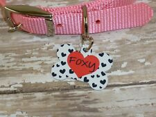 Personalized hearts pet tag, cat tag, dog tag, pet lover, pet style