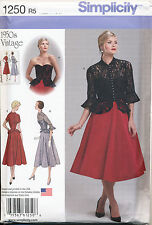 SIMPLICITY SEWING PATTERN 1250 MISSES SZ 6-14 1950s RETRO FLARED DRESS & JACKET
