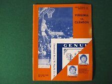 1973-74 UVa vs Clemson Basketball Program Feb 20, 1974 Charlottesville VA