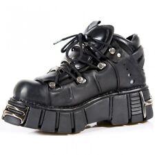 Newrock New Rock 106 Negro Metálico Zapatos Unisex Punk Gótico Cuero Biker Boots