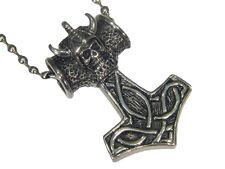 """BUTW- Thors Hammer Skull Mjollnir Stainless Steel Pendant 24"""" Ball Chain  5150E"""