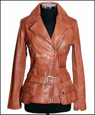 Alyssa Ladies Military Leather Jacket Tan Wax Womens Retro Soft Lambskin Jacket