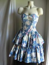 Vtg 80'S Laura Ashley Dress Strapless Sundress Women'S S Floral Corset Pretty A+