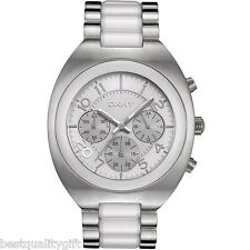NEW DKNY WHITE CERAMIC WITH SILVER S/ STEEL CHRONOGRAPH MEN'S  WATCH NY4698